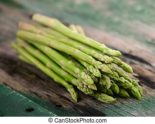 asparagus on old wooden
