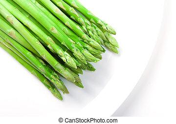 Asparagus on white plate