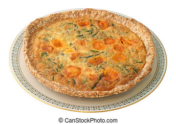 An alternative vegetarian version on the classic Quiche recipe. Homemade with fresh asparagus, eggs, and cheddar cheese. Definitely a healthy, hearty and savory dish!