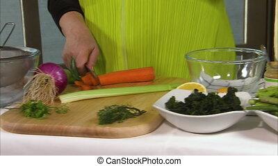 Asparagus, prawn, salad and a bread - A steady shot of a...