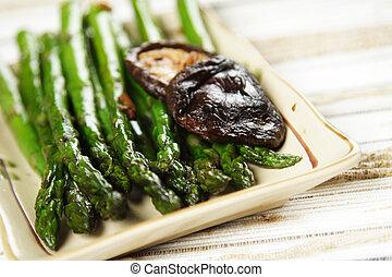 Asparagus - Stir fry asparagus with garlic and shiitake...