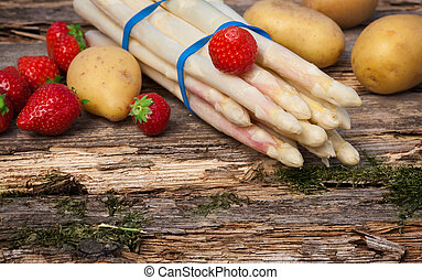 Asparagus, strawberries and potatoes