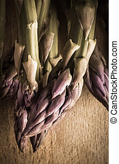 Asparagus Tips - Vintage - Close up, overhead shot of...