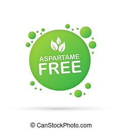 Aspartame free grunge on white background, vector stock illustration