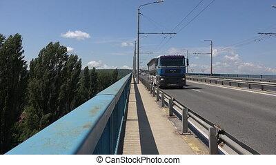 Asparuhov bridge in Varna. Bulgaria. 4K.