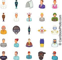 Aspect icons set, cartoon style
