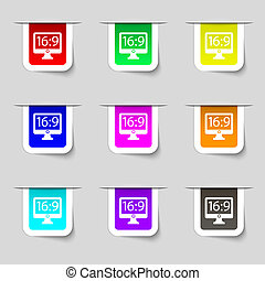 Aspect ratio 16 9 widescreen tv icon sign. Set of multicolored modern labels for your design.