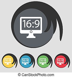 Aspect ratio 16 9 widescreen tv icon sign. Symbol on five colored buttons. Vector