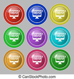Aspect ratio 16 9 widescreen tv icon sign. Symbol on nine round colourful buttons. Vector