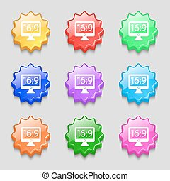 Aspect ratio 16 9 widescreen tv icon sign. symbol on nine wavy colourful buttons. Vector