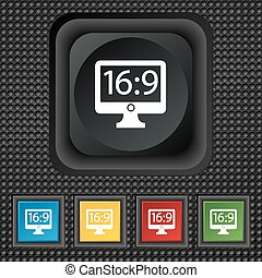 Aspect ratio 16 9 widescreen tv icon sign. symbol Squared colourful buttons on black texture. Vector