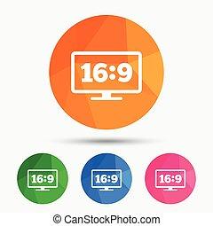 Aspect ratio 16:9 widescreen tv. Monitor symbol.