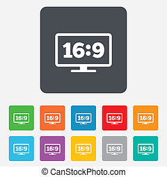 Aspect ratio 16:9 widescreen tv sign icon. Monitor symbol. Rounded squares 11 buttons. Vector