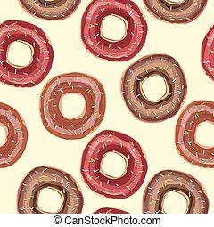 asperge, coloré, modèle, glaçage, seamless, vecteur, fond, beignets, blanc