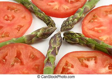 asperge, et, tomates