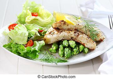 asperge, fish, frit, salade verte