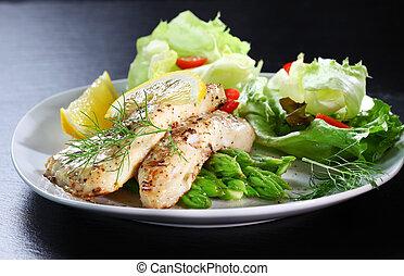 asperge, fish, salade verte