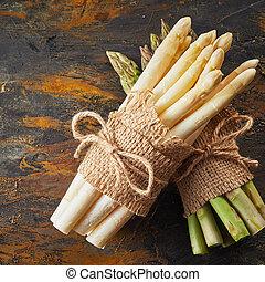 asperge, haut, paquet, fin, frais, blanc, pointes
