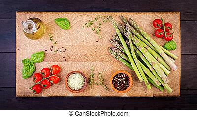 asperge, sommet, space., rustique, bois, vert, frais, table, copie, vue