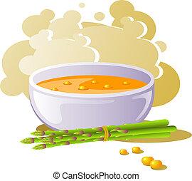 asperge, soupe, maïs, bol