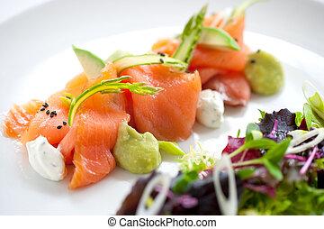 asperge, vert, saumon, salade