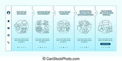 Asperger syndrome signs in kids onboarding vector template. Responsive mobile website with icons. Web page walkthrough 5 step screens. Few words phrases color concept with linear illustrations