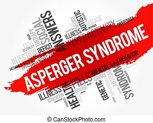 Asperger syndrome word cloud collage, health concept...