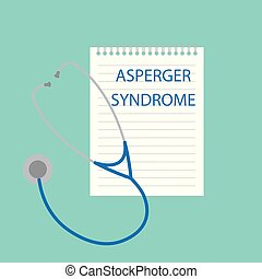 Asperger syndrome written in notebook- vector illustration