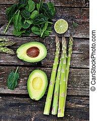 asperges, avocado