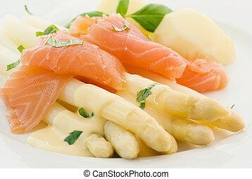 asperges, met, salmon