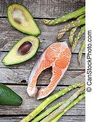 asperges, salmon, avocado