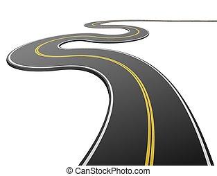 asphalt, abstrakt, freigestellt, hintergrund., weißes, straße