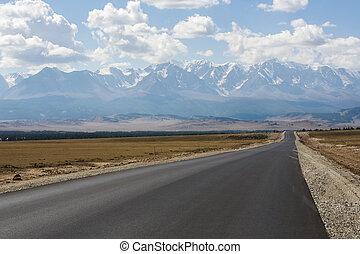 asphalt, altai, russland, berge, straße