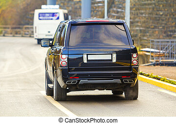 asphalt, auto, zurück, suv, schwarz, parken, neu , straße