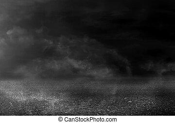 asphalt, beschaffenheit, hintergrund, rauchwolken