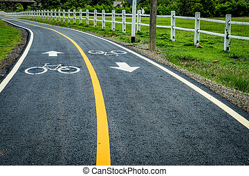 Asphalt bicycle road with yellow line