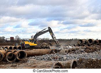 asphalt., broyeur, site, casseur, cohues, cisailles, construction, crumbles, shears., grinder., excavateur, hydraulique, vieux, dalles, coupures, béton