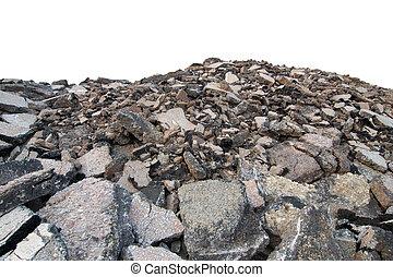 Asphalt demolition debris from the road