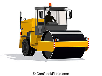 Asphalt - Road-building machinery. A modern machine for...