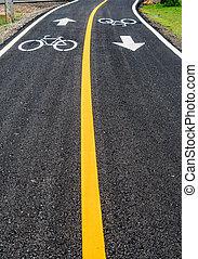 asphalt, fahrrad, straße, mit, gelbe linie