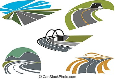 Asphalt highways and roads abstract icons
