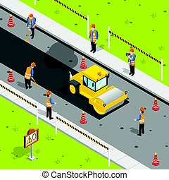 Asphalt Laying Isometric Composition - Construction icons...