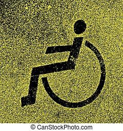 asphalt., lugares, estacionamento, incapacitado, vetorial, sinais, illustrat