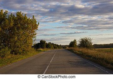 asphalt, middle., texture., sonnenuntergang, weg, linie, weißes, straße