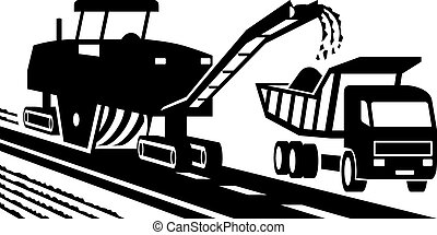 Asphalt milling machinery - vector illustration