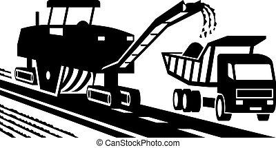 Asphalt milling machinery - vector illustration