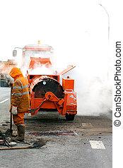 Asphalt patching during road works