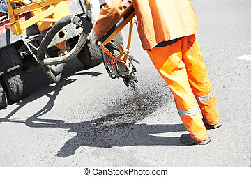 Asphalt patching roadworks