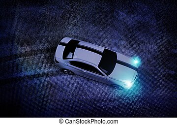 asphalt., pneu, voiture, feuilles, raies, dérives, sports, imprimer, blanc