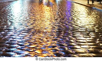 asphalt, regen, leute, abend